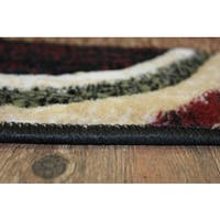 Multicolor Green, Burgundy, Black, Beige, and Brown Area Rug (7'10 x 10'6)
