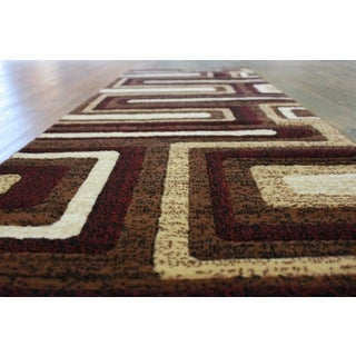 Brown Color Area Rug With Beige Burgundy Black - 2' x 7'5