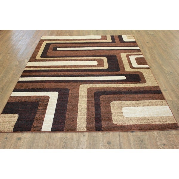 "Multicolor Brown. Beige, Burgundy, Black Area Rug - 7'9"" x 10'6"""