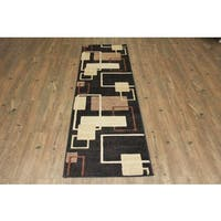 Black Brown Beige Area Rug & Runner - 2' x 7'5