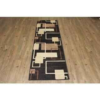 Black Brown Beige Area Rug & Runner - 2' x 7'5