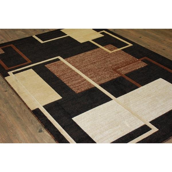 "Multicolor Black, Brown, and Beige Runner Rug - 5'3"" x 7'6"""