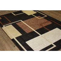 "Multicolor Black, Brown, and Beige Runner Rug - 5'3"" x 7'6"""