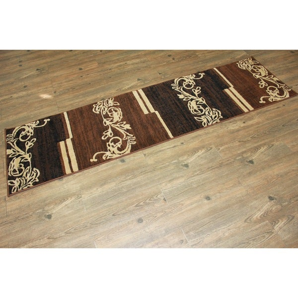 Brown Beige Black Area Rug & Runner - 2' x 7'5