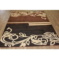 "Multicolor Brown, Beige, and Black Runner Rug - 7'9"" x 10'6"""