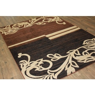 Brown Beige Black Area Rug & Runner - 4' x 5'5