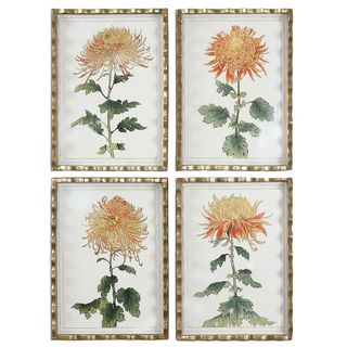 Tangerine Spider Mums Art (Set of 4)