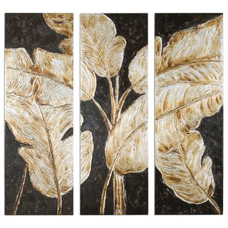 Golden Palms Floral Art (Set of 3)
