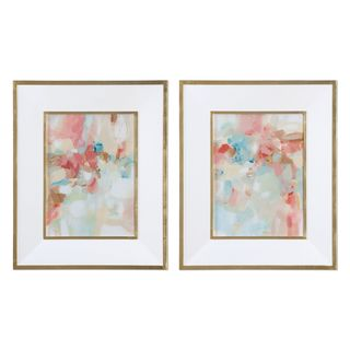 A Touch Of Blush And Rosewood Fences Art (Set of 2)