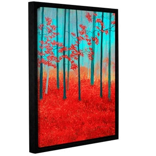 ArtWall Herb Dickinson's Red Forest Morning, Gallery Wrapped Floater-framed Canvas