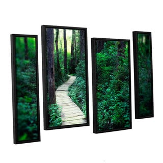 ArtWall Elena Ray 'Earth Path ' 4 Piece Floater Framed Canvas Staggered Set
