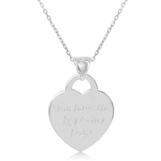 La Preciosa Sterling Silver Italian Engraved Flat Heart Pendant