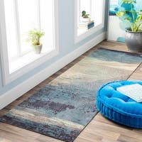 "Rachel Blue Abstract Area Rug - 2'6"" x 8' Runner"