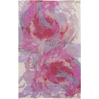 The Curated Nomad Kezar Abstract Watercolor Rug (2 x 3 - Hot Pink)