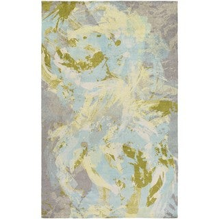 The Curated Nomad Kezar Abstract Watercolor Rug (2 x 3 - Sky Blue)