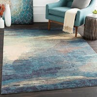 Rachel Blue Abstract Area Rug - 5' x 7'6
