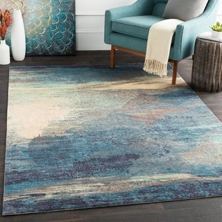 Rachel Blue Abstract Area Rug - 5' x 7'6""