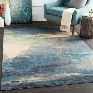 Rachel Blue Abstract Area Rug 5 X