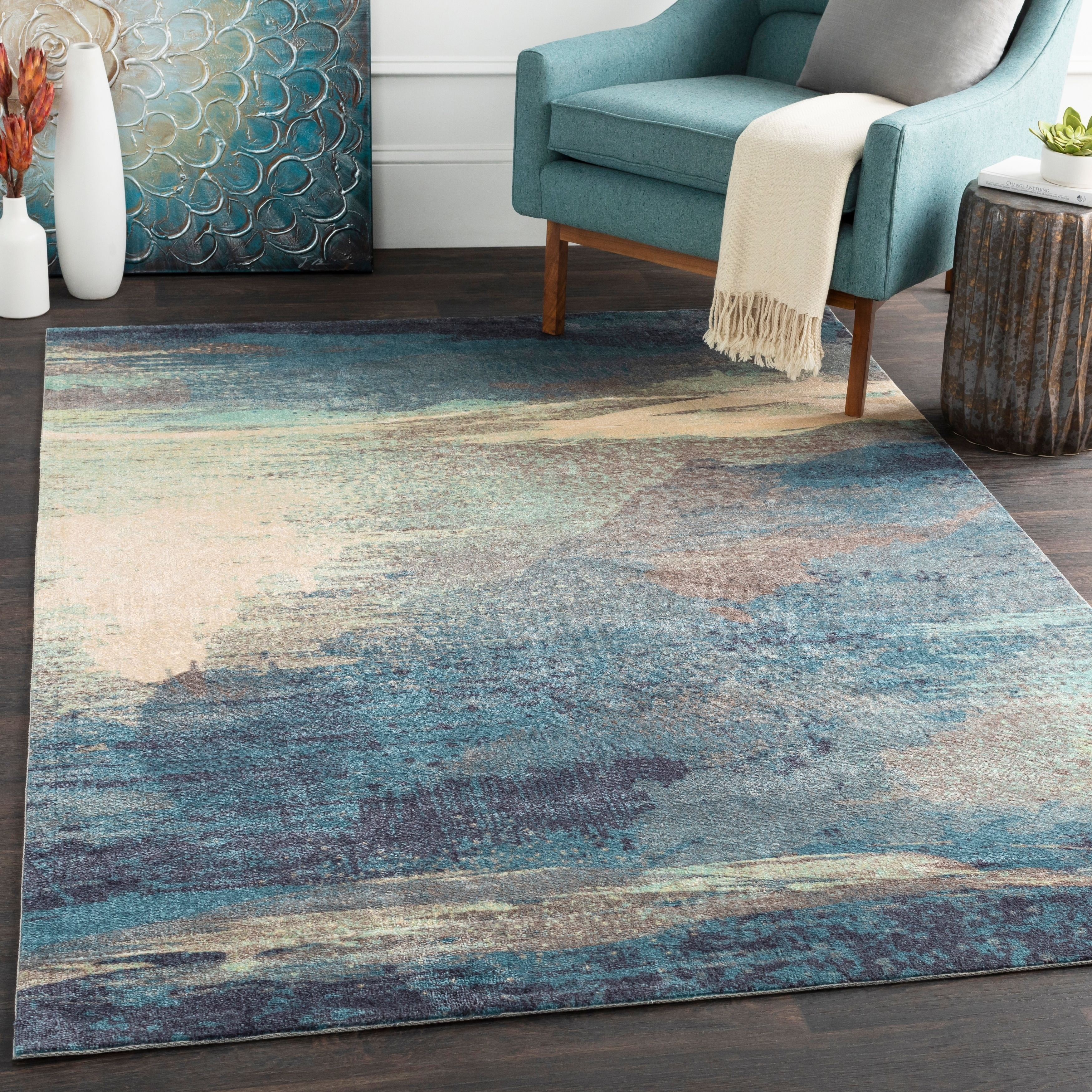 Shop Rachel Blue Abstract Area Rug 4 X 6 On Sale Free Shipping Today Overstock 11050283