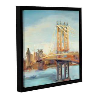 ArtWall Marilyn Hageman's Sunny Manhattan Bridge, Gallery Wrapped Floater-framed Canvas