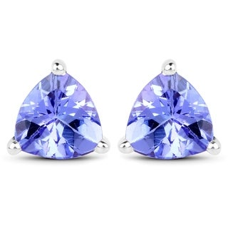 Malaika 14k White Gold 1 1/3ct TGW Tanzanite Earrings