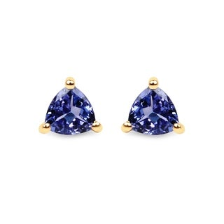 Malaika 14k Yellow Gold 1/2ct TGW Tanzanite Stud Earrings