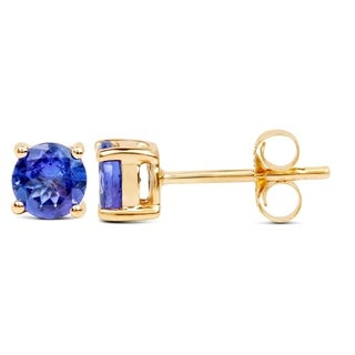 Malaika 14k Yellow Gold 1ct TGW Tanzanite Earrings