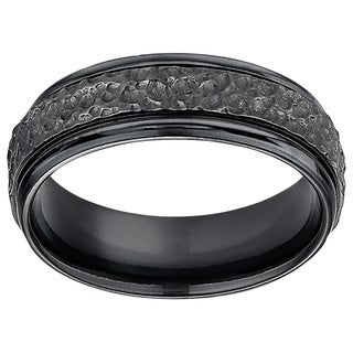 Men's 7mm Hammered Finish Black Titanium Ring