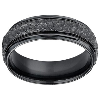 Men's 7mm Hammered Finish Black Titanium Ring (More options available)