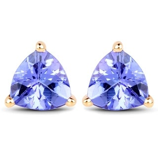 Malaika 14k Yellow Gold 1 1/3ct TGW Tanzanite Earrings