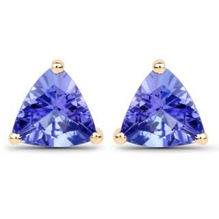 Malaika 14k Yellow Gold 7/8ct TGW Tanzanite Earrings
