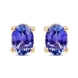 Malaika 14k Yellow Gold 2ct TGW Tanzanite Earrings