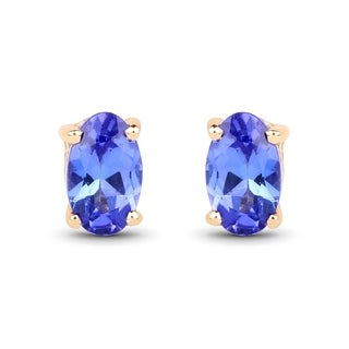Malaika 14k Yellow Gold 1/2ct TGW Tanzanite Earrings
