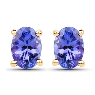 Malaika 14k Yellow Gold 1 1/5ct TGW Tanzanite Earrings