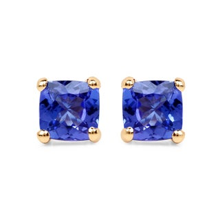 Malaika 14k Yellow Gold 3/5ct TGW Tanzanite Earrings