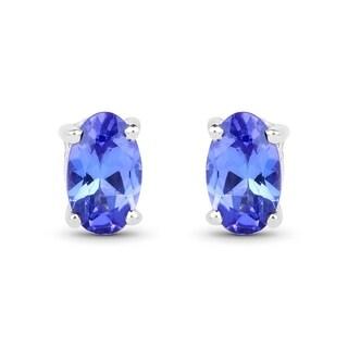 Malaika 14k White Gold 1/2ct TGW Tanzanite Earrings