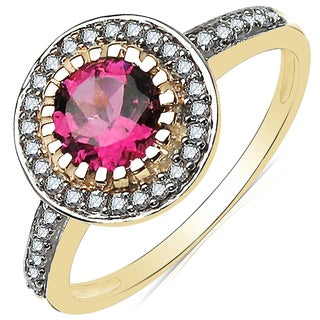Olivia Leone 10k Yellow Gold 1 1/3ct TGW Pink Tourmaline and Diamond Accent Ring