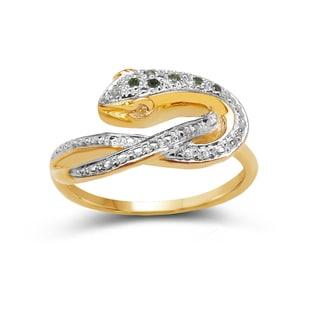 Malaika 14K Yellow Gold Plated 0.07 Carat Genuine Green Diamond and White Diamond .925 Sterling Silver Ring