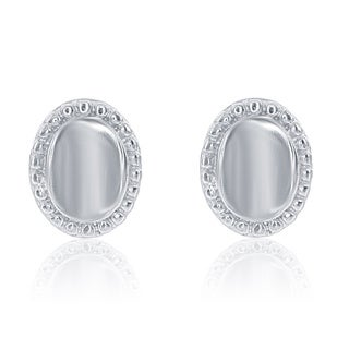 La Preciosa Sterling Silver Oval Stud Earrings