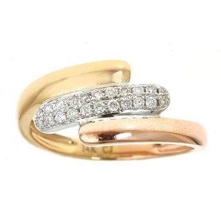 Anika and August 14K Three-Tone gold 0.18ct TDW Round White Diamond Ring (G-H, I1-I2)