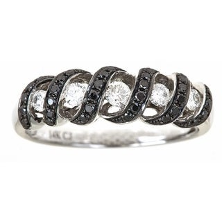 Anika and August 14K White Gold With 0.45ct T.W Black and White Diamond Ring
