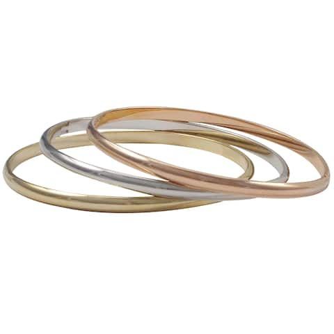 Luxiro Tri-color Gold Rose Gold and Rhodium Finish Bangle Bracelet Set - Silver