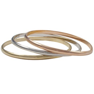 Luxiro Tri-color Gold Rose Gold and Rhodium Finish Bangle Bracelet Set