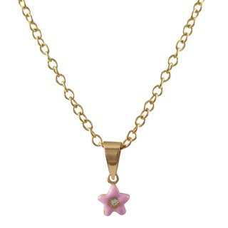 Luxiro Sterling Silver Gold Finish Pave Cubic Zirconia Enamel Flower Pendant Necklace