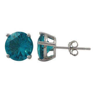 Luxiro Sterling Silver Cubic Zirconia 8mm Stud Earrings