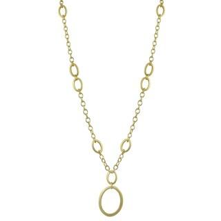 Luxiro Matte Gold Finish Oval Pendant Necklace - White