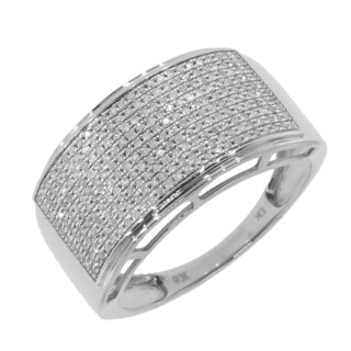 14k White Gold Men's 3/5ct TDW Diamond Ring