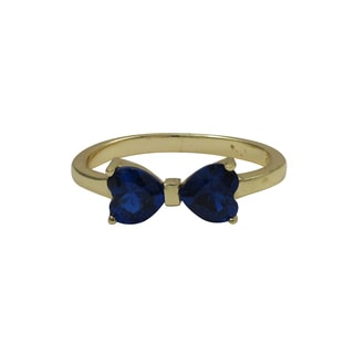 Luxiro Gold Finish Sterling Silver Blue Cubic Zirconia Heart Bow Children's Ring