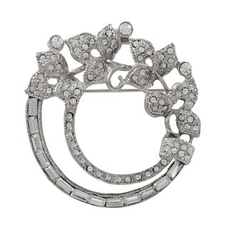 Luxiro Rhodium Finish Crystals Floral Wreath Pin Brooch