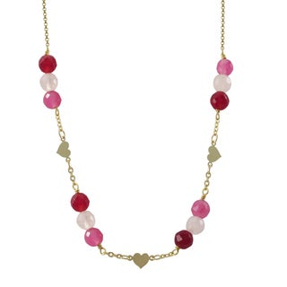 Luxiro Gold Filled Pink Semi-precious Gemstone Children's Heart Necklace